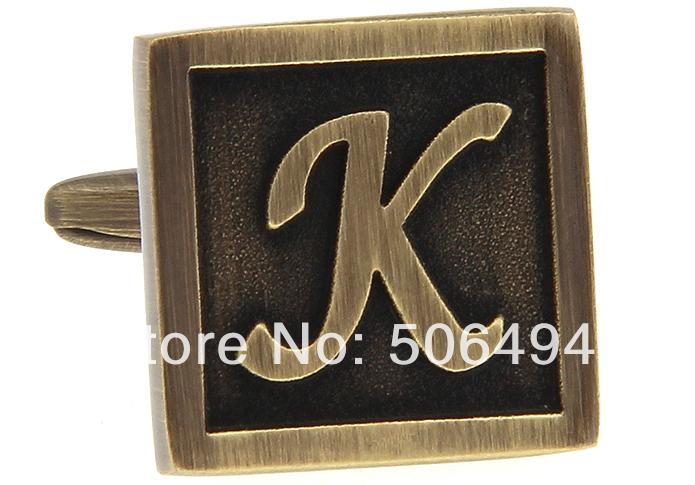 Fantasia abotoaduras New Copper letra K abotoaduras para a camisa L217(China (Mainland))