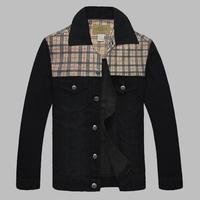 Plus size plus size denim outerwear plus size clothing plus size men's european version of patchwork denim turn-down collar