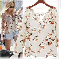 2014 New Fashion Ladies' Elegant Floral Print Blouse V-neck Casual Vintage Shirt High Quality  Brand Designer Tops Free Shipping