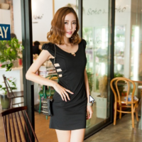 2014 autumn and winter clothing sexy V-neck short-sleeve black and white slim hip slim one-piece dress