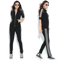 Womens Plus Size 3XL-6XL 2pcs Blue/Black Suit Set Fashion Striped Sport Tracksuit Free Shipping d6473