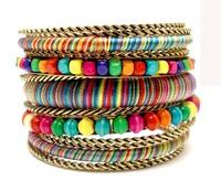New 2014 Spring Bracelets & Bangles Vintage Designed Luxury Bohemian Bangle Set Multi Color Wood Beaded Handmade Fashion Jewelry