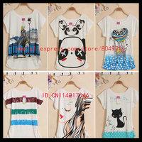 Free shipping High quality  short  Batwing  sleeve  printing women tee shirt H13-49