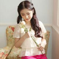 Free Shipping The New Women Shirts 2015 Cultivate One's Morality Chiffon Garment Cute Blouse Shirt W83061