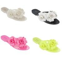 2014 women jelly  sandals  flat camellia slippers flip-flop sandals with flower  flip flops  fashion beach shoes