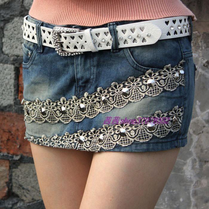 Spring and summer handmade beads lace decoration retro finishing all-match denim short skorts the trend of female shorts(China (Mainland))