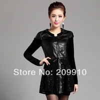 2014 spring PU lace patchwork velvet slim leather clothing women's basic outerwear  plus Size 5XL Winter dress