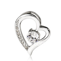 GND0675 Free shipping 925 Sterling silver Jewelry Zircon Heart Pendant 22.5*17mm Fashion Silver Floating Charms for Women
