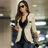 2014 New Fashion Winter Women Slim Blazer Coat Casual Jackets Long Sleeve V-Neck Black White One Button Suit OL Outerwear WT9045