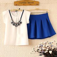 Nice elegant and cute female fashion o-neck short-sleeve white chiffon shirt & blue bust skirt twinset clothing set women