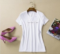 L14950 new women's summer brand short sleeve t-shirt O-neck cotton causal white plus size tee