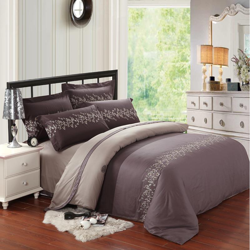 Luxo 100% algodão da cama conjunto bordado cama de casamento jogo de cama roupas de cama colcha lençol roupa de cama camas de têxteis lar(China (Mainland))