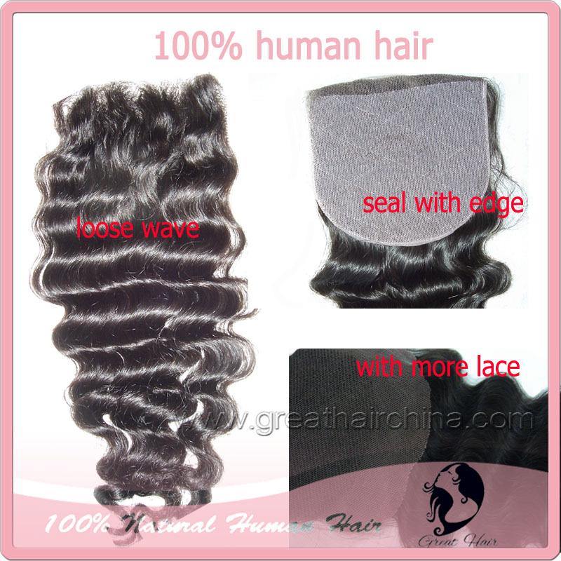 "lace front closure Indian Hair Lace Closure(3.5""*4"" & 4inch*4inch) hair closure, Loose wave hair 8""-20"" natural Color(China (Mainland))"