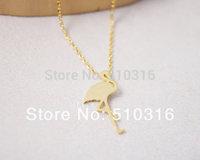 2015 Fashion Bird  Necklace 18K Gold /Silver Tiny Flamingo Necklace