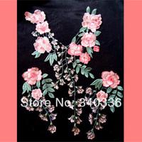 1 set DIY Pink cravat silk embroidered clothes accessories false collar fashion flower applique patch for decoration