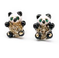 Min Order $ 15 (Can Mix Item )  Lovely created crystal rhinestone panda stud earring