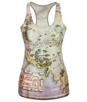 EAST KNITTING V-55 Free Shipping spring new 2014 women t shirt The Hobbit Map Vest tops women's clothing