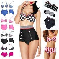 Free Shipping Factory Wholesale 2014 New Retro 50s Lady High Waist Polka Dot Padded Bikini Set Swimwear Swimsuit BS57