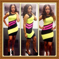 Free shipping 2014 Women colors patchwork bodycon Bandage Dress Bodycon Evening Party wear Dresses S M L