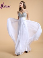 N-014 New Coming Beaded V-neck Empire Waist Chiffon Prom Dress Party Gown 2014 vestidos de festa vestido longo