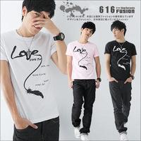 2014 Summer new Korean men's t shirt love letters printed round neck short sleeve cotton tops