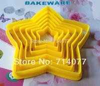 Freeshipping 6PCS/SET Food Grade Plastic Stars Shape Cake Decorating Bakeware Cake Tool Fandont Mold 020049