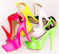 2014 Fashion neon color sandals platform open toe high-heeled platform thin heels female sandals women's pumps