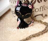 Hot Selling Free ShippingKorean Enamel Cat Vintage Long Necklace N15
