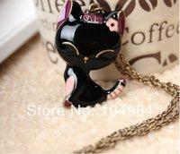 Hot Selling Free ShippingKorean Enamel Cat Vintage Long Necklace N15