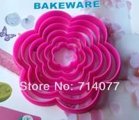 Freeshipping 6PCS/SET Food Grade Plastic Plum Shape Cake Decorating Bakeware Cake Tool Fandont Mold 020046