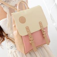 Vintage 2014 preppy style backpack color block bag sweet beautiful woman the student backpack school bag female bags