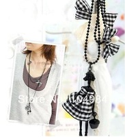 Mixed order $15 At least New Arrival Hot Selling Fashion Scotland Style Doll & Black Check Butterfly Necklace N23