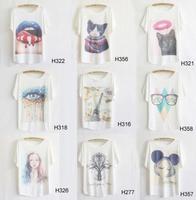 2014 Hot Retro Cool Punk T-shirt Women Top Fashion Tee Plus Size Loose Batwing Sleeve women's  T-shirt 15 models Free Shipping