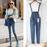 2014 Free shipping Handsome all-match fashion street suspenders two ways suspenders denim jumpsuit jeans female trousers