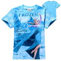 Free shipping Frozen Elsa snow Romance children clothes girls cotton printed T-shirt short sleeve Kids 2014 New Summer