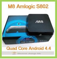 M8 Android TV BOX Mini PC Amlogic S802 2G/8G XBMC USB2.0 Android 4.4 Bluetooth 4.0 KitKat HDMI RJ45 AV Smart TV Receiver