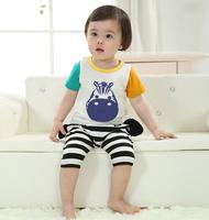 2 pcs set baby boy girl kids sleepwear suits toddler cartoon pajama Retail Children 100% cotton short sleeve pajamas sets
