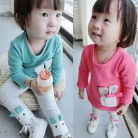 Casual cartoon baby suit, spring models Korean girls bow bunny ears suit