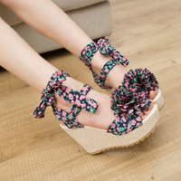 Women sandals! NEW 2014 summer sweet open toe platform wedges high-heeled shoes flower small strap female sandals,free shipping