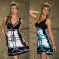 2014 New Fashion Retro Design Vintage Paisley Print V Neck Low Cut Hippie Boho Summer Dress Women Beach Dress Free Shipping