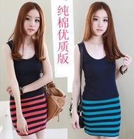 New 2014  Women  Casual Dress Sleeveless Cotton Stirped   Dress SI098