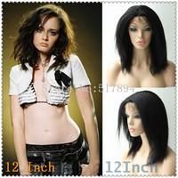 "120% Density!UPS Free! Brazilian Human Hair Full Lace Wigs #1 Jet Black 12"" Kinky Straight Brown Lace A05"