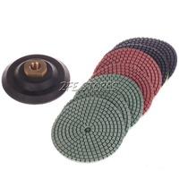 Diamond Polishing Pads 4 inch Wet/Dry 7 Piece Set & Backer Pad Granite Concrete