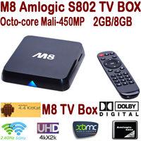 Newest M8 Amlogic S802 Quad Core Android TV Box 2GB/8GB Mali450 GPU 2.4G/5G Dual Wifi HDMI Bluetooth 4K Android 4.4 KitKat XBMC