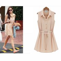2014 Summer Brief Fresh Europe Style Chiffon Women Dress High Street Trend All-match Fashion Ladies Vestidos Pleated Slim Dress
