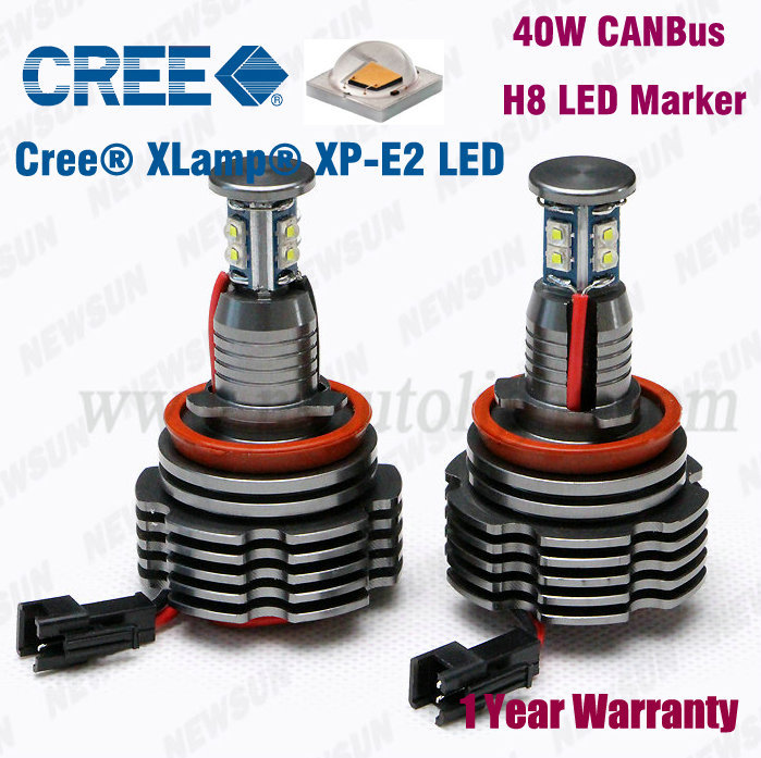 2014 New Real CREE 40W H8 LED Marker Angel Eyes for BMW e60 E63 E64 M6 X5 X6 E70 E71 7000K Xenon White car headlight with canbus(China (Mainland))