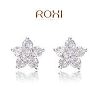 Wholesale ROXI Fashion Accessories Jewelry Austria Crystal Full CZ Diamond Five Star Snow Flower Stud Earrings for Women