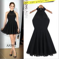 2014 Sheer Black Sexy Women Halter Neck Evening Party Dress Pleated Slim Vintage Europe Style Vestidos Half Transparent Gowns