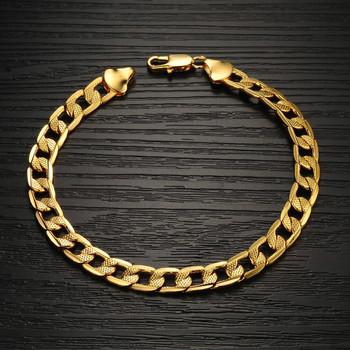 Trendy Bracelets 18K Real Gold Plated male Chunky Link Chain Lobster Bracelets & ...
