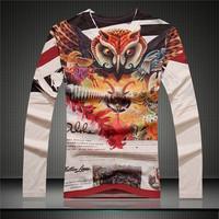 2014 New Fashion  European Style Female T-Shirt Owl & Goat Print Fashion Brand Men T-Shirts V-Neck Long-Sleeved Men T-shirt 807